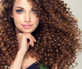 Fluffy Wavy curly girl Stock Photo 05