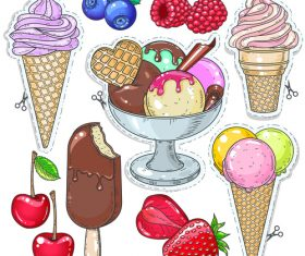 Fruit with ice cream sticker vector