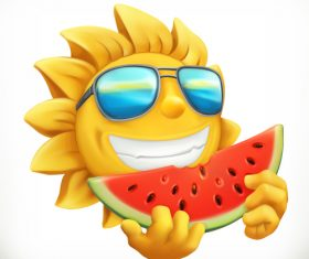 Fun summer sun with watermelon vector material