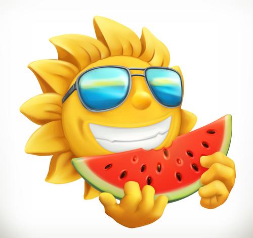 Fun summer sun with watermelon vector material
