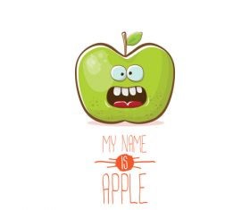 Funny apple cartoon design vector 01
