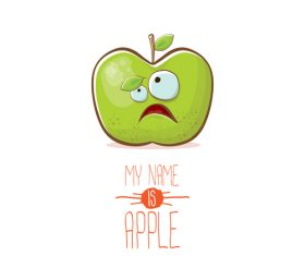 Funny apple cartoon design vector 02