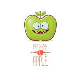 Funny apple cartoon design vector 03