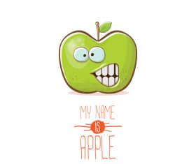 Funny apple cartoon design vector 04