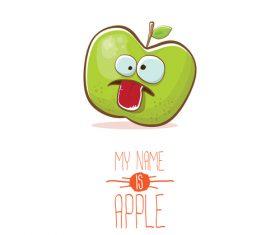 Funny apple cartoon design vector 05