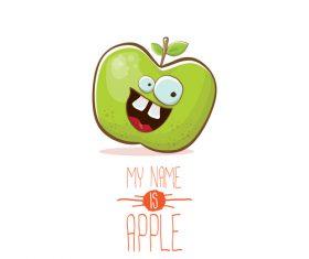 Funny apple cartoon design vector 06