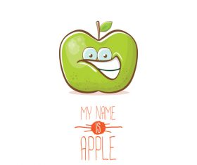 Funny apple cartoon design vector 07