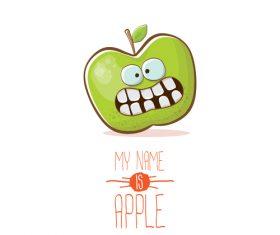 Funny apple cartoon design vector 08