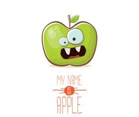 Funny apple cartoon design vector 09
