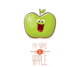 Funny apple cartoon design vector 10
