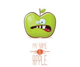 Funny apple cartoon design vector 11