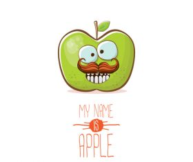 Funny apple cartoon design vector 14