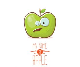 Funny apple cartoon design vector 15