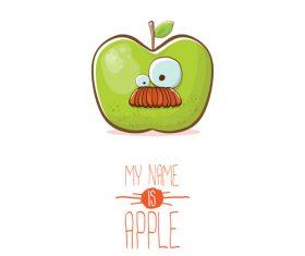 Funny apple cartoon design vector 17