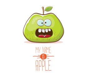 Funny apple cartoon design vector 18