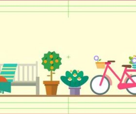 Garden flat cartoon vector flower bicycle