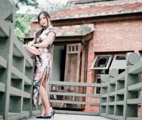 Gentle temperament Chinese cheongsam girl Stock Photo