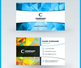 Geometric polygon colored business card template vector
