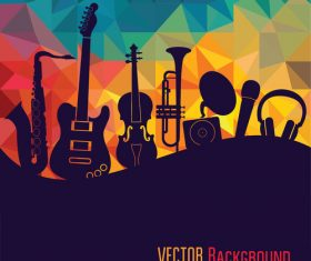 Geometric polygon music vector background 02