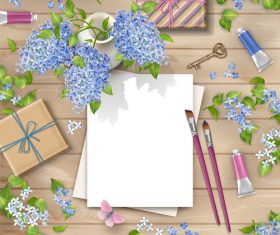 Gift with blue flower and blank paper vector