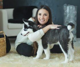 Girl hugs husky Stock Photo 02