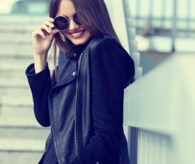 Girl in black outfit outdoors Stock Photo 02