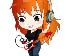 Girl playing electric guitar vector