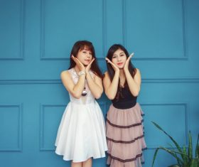 Girlfriend posing as flower photo pose Stock Photo