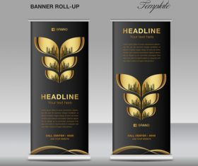 Gold and black roll up banner template vector 01