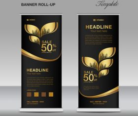Gold and black roll up banner template vector 02