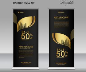 Gold and black roll up banner template vector 03