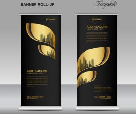 Gold and black roll up banner template vector 04