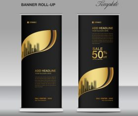 Gold and black roll up banner template vector 05