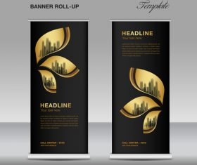 Gold and black roll up banner template vector 06