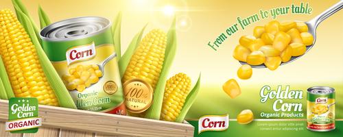Golden corn tin poster vector template 02