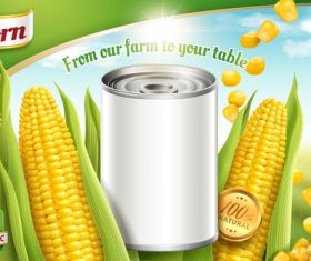 Golden corn tin poster vector template 03