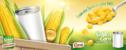 Golden corn tin poster vector template 04