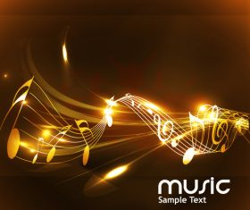 Golden musical note with abstract vector