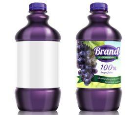 Grape juice package design vector