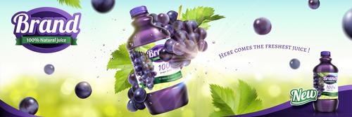 Grape juice poster design vector template 01