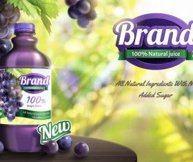 Grape juice poster design vector template 02