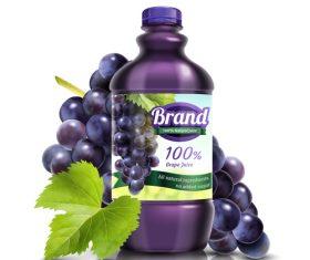 Grape juice poster design vector template 03