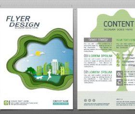 Green city flyer design template vector 04