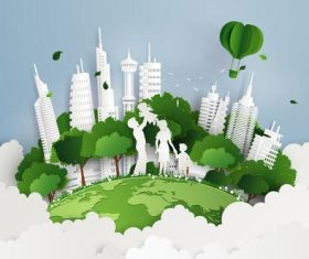 Green city with family vector material