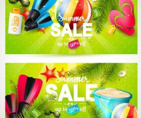 Green summer sale banners vector