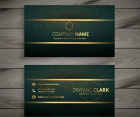 Green with golden business card template vector