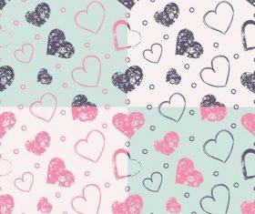 Grunge hearts pattern vector
