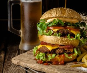 Hamburger with french fries and beer Stock Photo