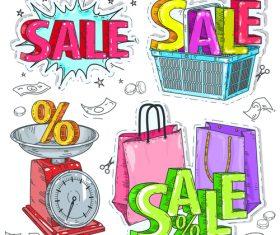 Hand drawn sale sticker vector