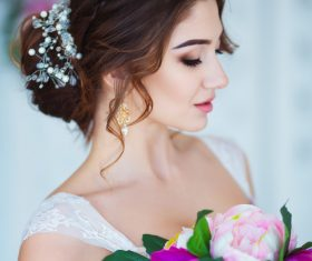 Hand-held bouquet bride posing Stock Photo 01